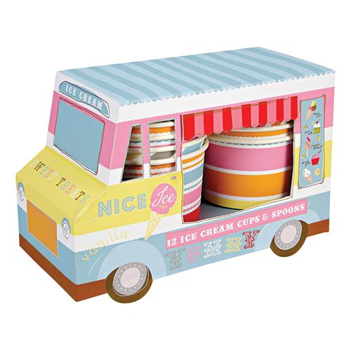 """Стаканы и ложечки для мороженого """"Фургончик с мороженым"""" 104986"""