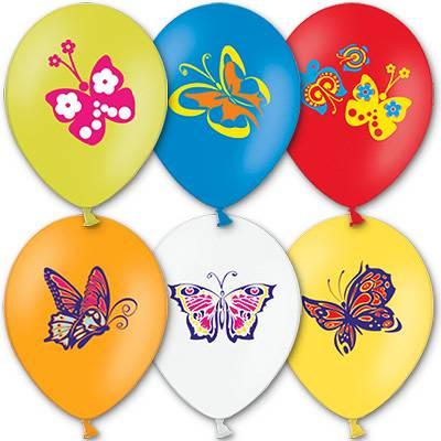 """Шар с рисунком 14"""" Бабочки 3цв 1103-0611"""