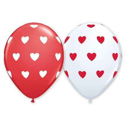 "Шелк 11""(30 см) Сердца большие White Red 1103-1082"