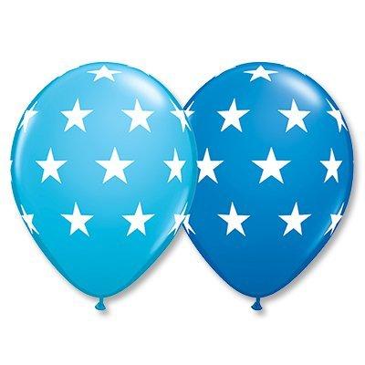 """Шелк 11"""" Звезды большие Синие, Голубые 1103-1423"""