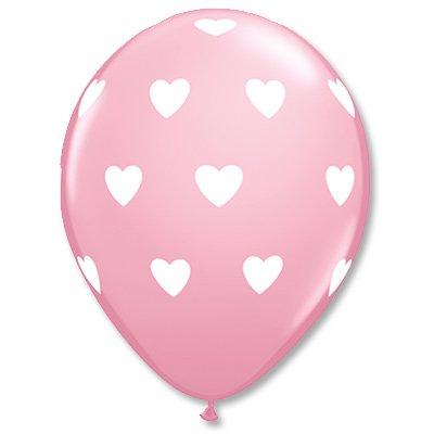 """Шары Шелк 11"""" Сердца большие Pink WildBe 1103-1452"""