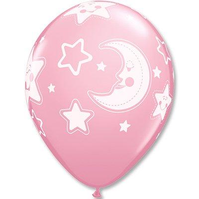 Шары шелк 11 Луна и Звезды, розовые 1103-1498