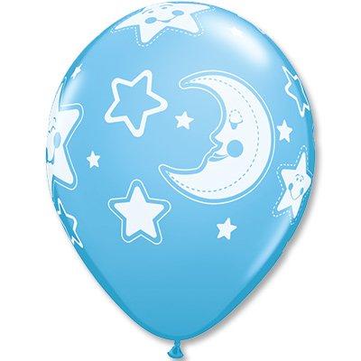 Шары шелк 11 Луна и Звезды, голубые 1103-1499