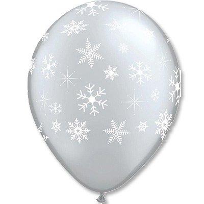"Шары шелк 11"" Снежинки Silver 1103-1521"