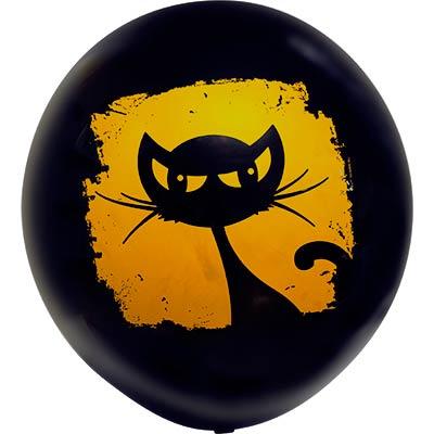 """Шар с рисунком 24"""" Кошка черная 1103-1529"""