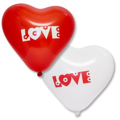 "Сердце 16"" красн/белое LOVE с цветами 1105-0322"