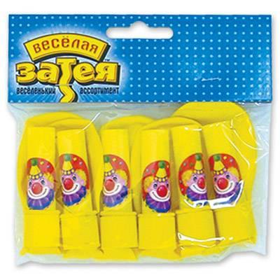 Шарики с гудком, Клоун с шарами, 6шт 1111-0080