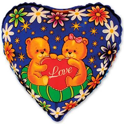 """Шарик 9"""" Медвежата с сердечком 1201-0151"""