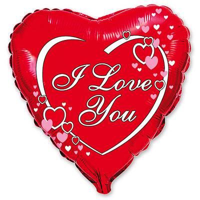 """Шарик 18"""" ILY Сердца на красном фоне 1202-0411"""