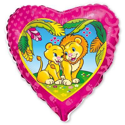 """Шарик 18"""" Влюбленные львы 1202-0420"""