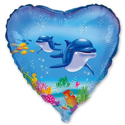 """Шарик 18"""" Дельфины 1202-0427"""