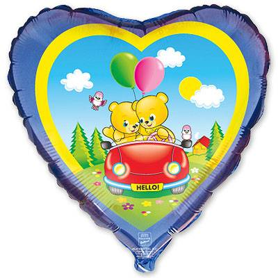 """Шарик 18"""" Медвежата в автомобиле 1202-0451"""