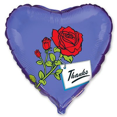"""Шарик 18"""" Роза на синем Thanks 1202-0474"""