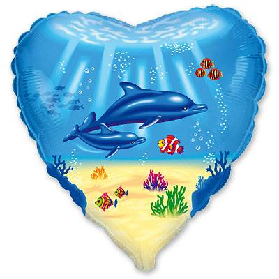 """Шарик 18"""" Семейство дельфинов 1202-0480"""