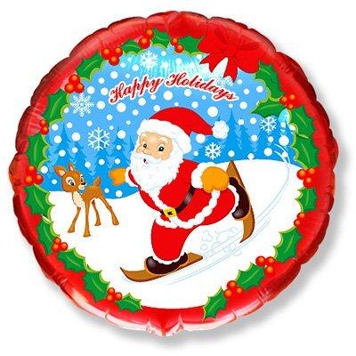 """Шарик 18"""" Новый год Санта на лыжах 1202-0905"""