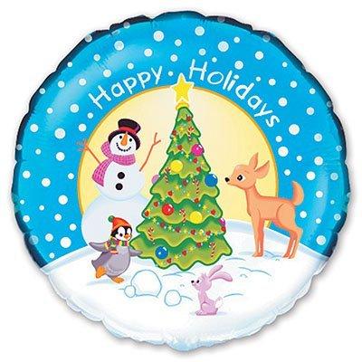 """Шарик 18"""" Новый год Снеговик у елки 1202-0907"""