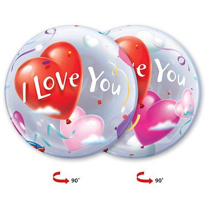 "Шарик BUBBLE 22"" ILY Шары-Сердца 1202-1083"