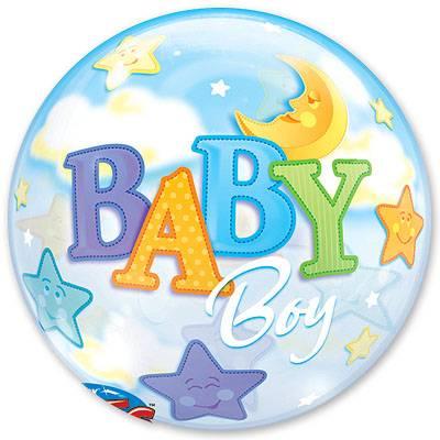 Шар Bubble Луна и Звезды(Мальчик), 56 см 1202-1420