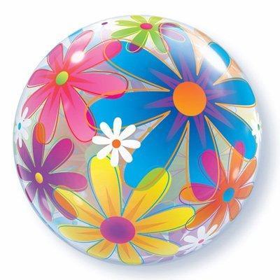 Шар bubble Ромашки разноцветные, 56 см 1202-1435