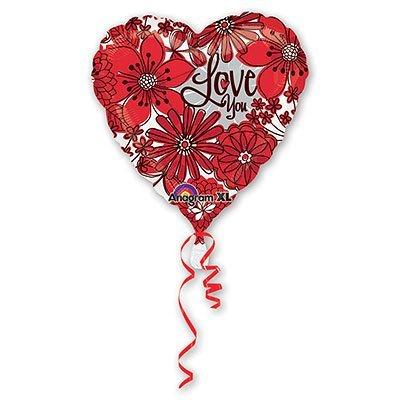 """Шар 18"""" I Love you Цветы красные, 46 см 1202-1504"""