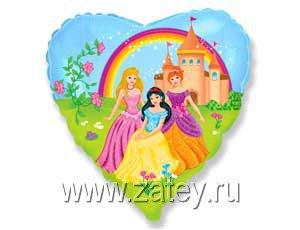 """Шарик 18"""" Принцессы на прогулке 1202-1771"""