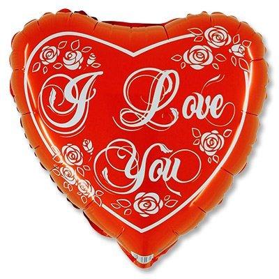 """Шар 18"""" ILY Сердце с розами красное 1202-2011"""