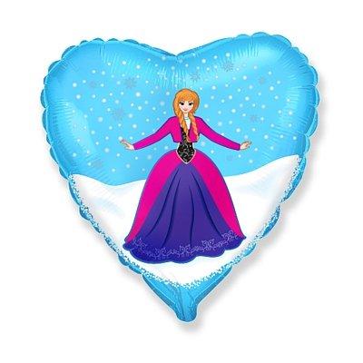 """Шар Ф 18"""" Принцесса в голубом сердце 1202-2056"""
