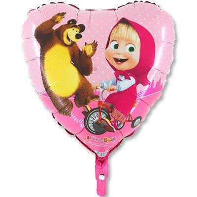 """Шар 18"""" Маша и Медведь в сердце 1202-2162"""