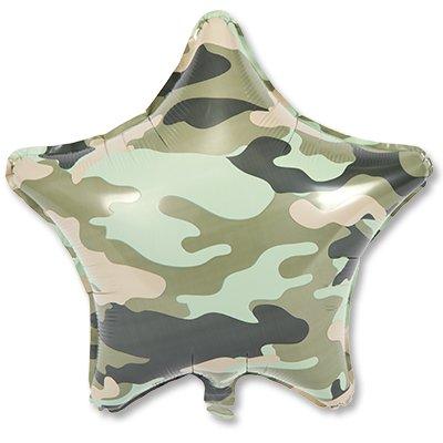 "Шар Р 18"" Камуфляж зеленый звезда 1202-2620"