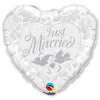 "Шарик 36"" Just Married Pearl, Silver 1203-0364"