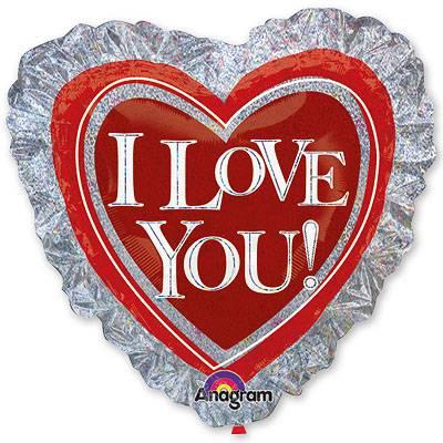 Шар ILY Сердце на серебре, 71 см 1203-0380