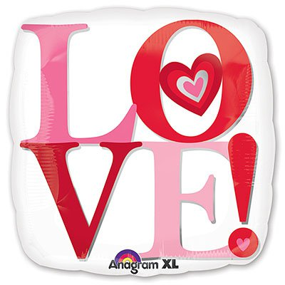 Шар ДЖАМБО Love Белый квадрат 1203-0447
