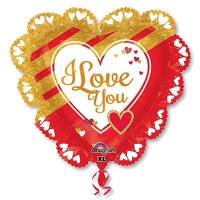 Шар джамбо LOVE Золотое и красное 1203-0566