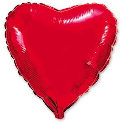 "Шарик 4"" сердце металлик Red 1204-0074"