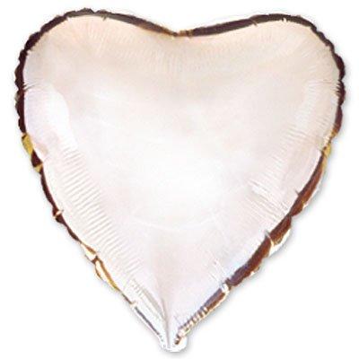 "Шарик 32"" сердце металлик Silver 1204-0128"