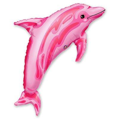 Шар фигура Дельфин розовый 37 дюймов 1207-0042
