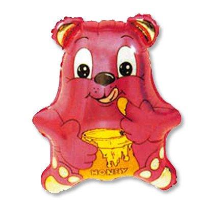 Шар фигура Медвежонок малиновый 1207-0372