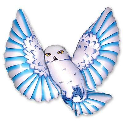 Фольгированный шар сова, голубая 1207-0488