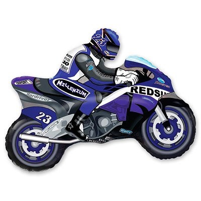 Шар фигура Мотоциклист синий 1207-0831