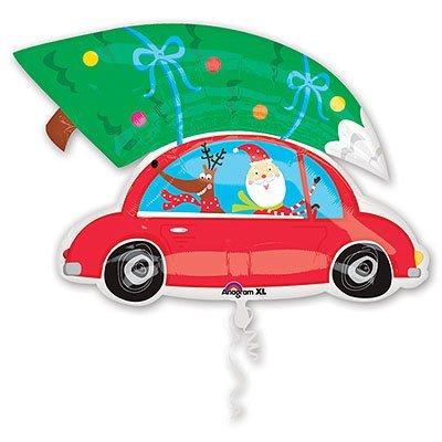 Шар фигура Новый год Санта на машине 1207-0934