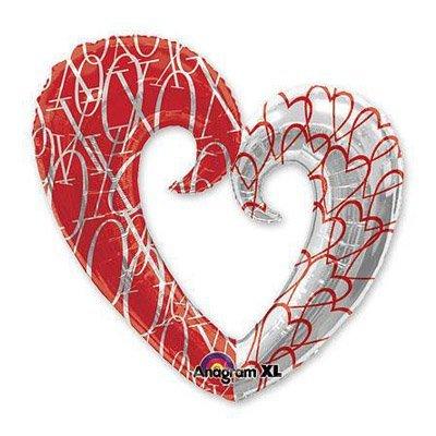 Шар фигура сердце вензель двухцветное 1207-1015
