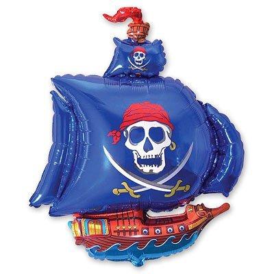 Фольгированный шар Корабль пиратский синий 1207-1041
