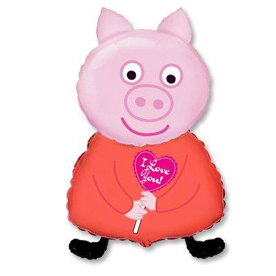 Шар фигура Поросенок с сердечком ILY 1207-1503