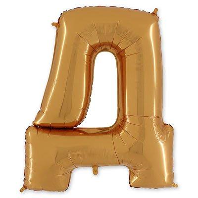 """Шар-фигура буква Д 40"""" Gold 1207-1678"""