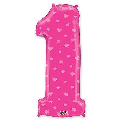 Шар П ЦИФРА 1 Сердечки Pink 1207-1754