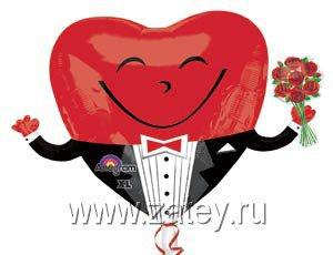 А ФИГУРА/P30 Сердце в смокинге с букетом 1207-1845