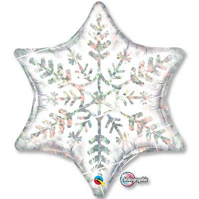 Шар фигура 2 Снежинка белая голограф. 1207-2010