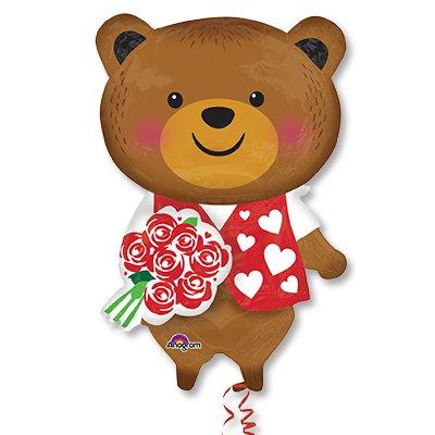 Шар фигура Медведь с розой 1207-2075