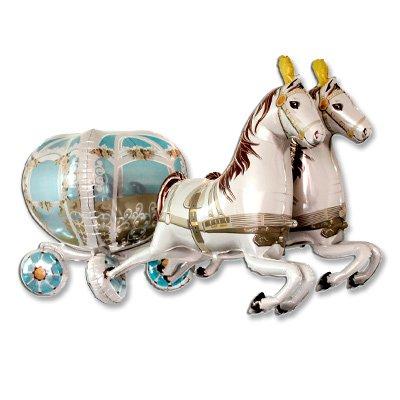 Шар фигура Карета свадебная с лошадьми 1207-2143