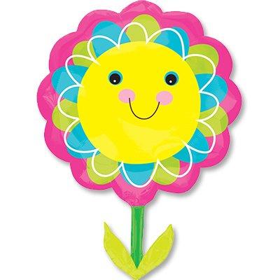 Шар фигура Цветок улыбающийся желтый 1207-2862